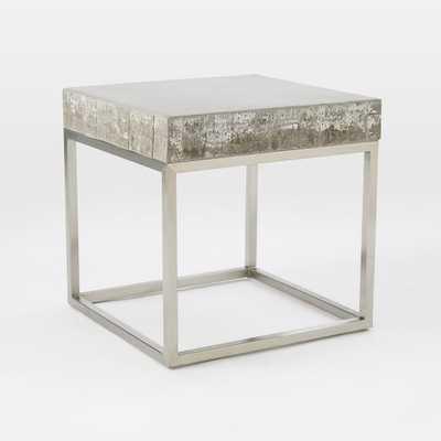 Concrete + Chrome Side Table - West Elm