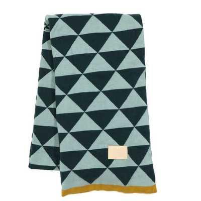 Modern Geometric Cotton Throw Blanket - Blue - AllModern