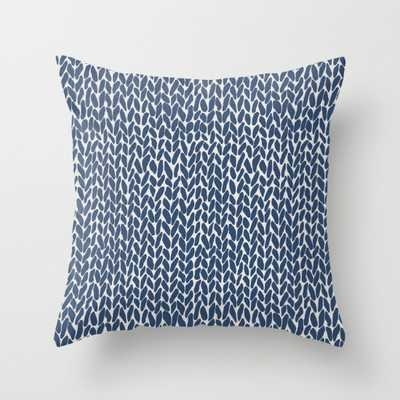 """Hand Knit Navy Indoor Pillow - 20"""" x 20"""" with Down Insert - Society6"""