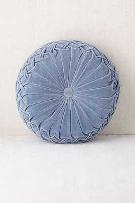 """Round Pintuck Pillow, Slate - 16"""" Diam. - Poly fill - Urban Outfitters"""