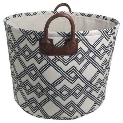 Round Fabric Basket with Handles - White with Geometric Pattern - Threshold™ - Target
