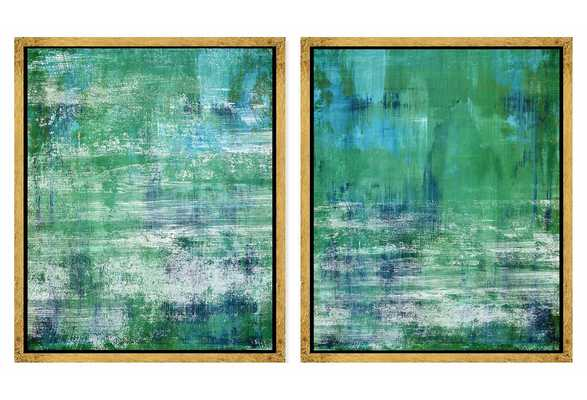 "Abstract Greens and Blues (Set of 2) - 21.75"" x 25.75"" - Framed - One Kings Lane"