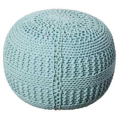 Ramon Color Cable Knit Ottoman - Aqua - Wayfair
