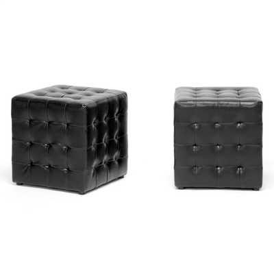 BAXTON STUDIO SISKAL BLACK MODERN CUBE OTTOMAN (SET OF 2) - Lark Interiors