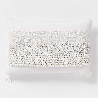 """Beaded Trio Stripe Pillow Cover-12""""w x 21""""l.-without insert - West Elm"""