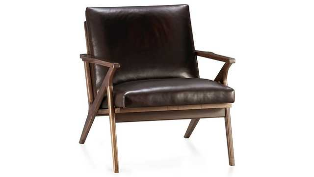 Cavett Leather Chair - Sumatra - Crate and Barrel