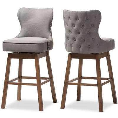 Gradisca Modern and Contemporary Button-Tufted Upholstered Swivel Barstool - Set of 2 - Lark Interiors