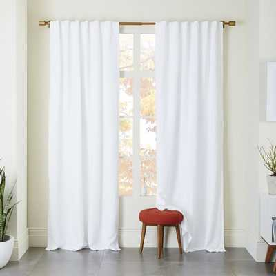 """Belgian Linen Curtain + Blackout Panel, White, 48""""x96"""" - West Elm"""