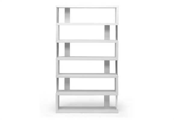 BARNES WHITE SIX-SHELF MODERN BOOKCASE - Lark Interiors