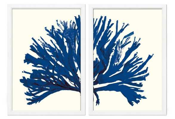 "Miranda Baker, Blue Coral Diptych -36"" x 25""-Off-white frame- No mat - One Kings Lane"