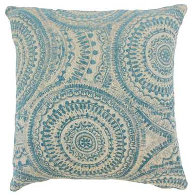 "Freira Geometric Pillow Teal - 18"" x 18"" - Down Insert - Linen & Seam"