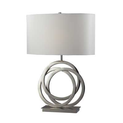 TRINITY TABLE LAMP IN POLISHED NICKEL WITH WHITE SHADE - Rosen Studio