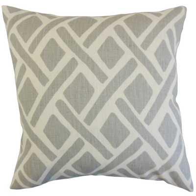 """Satchel Geometric Pillow Asphalt - 18"""" x 18"""" - Polyester Insert - Linen & Seam"""