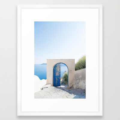 "Santorini Door - 20"" x 26"" - Vector White frame - With mat - Society6"