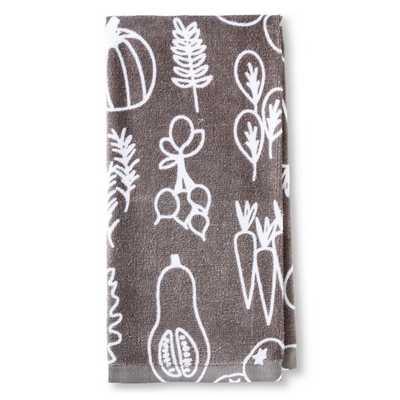 "Room Essentialsâ""¢ Gray Veggies Printed Terry Kitchen Towel - Target"