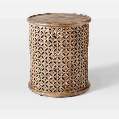 Carved Wood Large Side Table, Raw Mango - West Elm