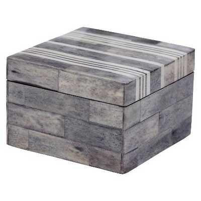 Lazy Susan Square Decorative Box - White/Grey - Target