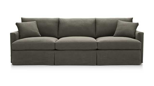 "Lounge II Petite Slipcovered 3-Seat 105"" Grande Sofa-Olive with Contrast Saddle Stitching - Crate and Barrel"