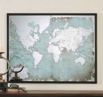 "Mirrored World Map - 44"" x 33"" - Black frame - Hudsonhill Foundry"