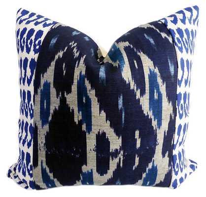 Raji 20x20 Cotton-Blend Pillow, Navy - with insert - One Kings Lane