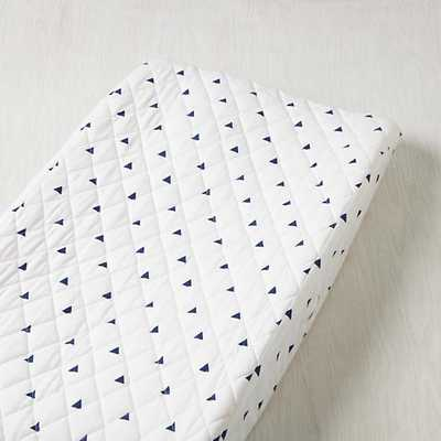 Blue Triangle Little Prints Changing Pad Cover - Land of Nod