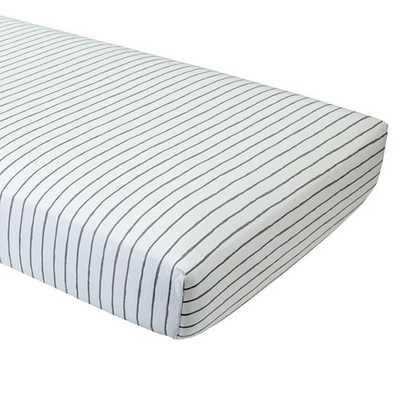 Wild Excursion Grey Stripe Organic Fitted Crib Sheet - Crate and Barrel