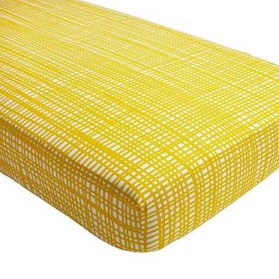 Mod Botanical Yellow Hatch Crib Fitted Sheet - Land of Nod