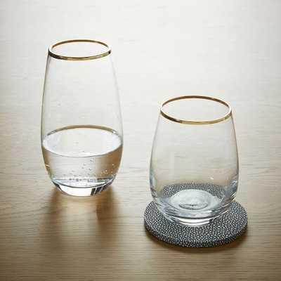 Stemless Wine Glasses - Gold Rimmed (Set of 4) - West Elm