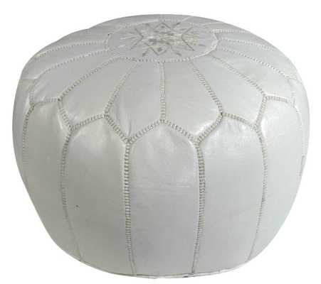 White Leather Pouf - Domino