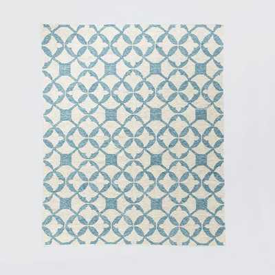 Tile Wool Kilim Rug, 8'x10', Aquamarine - West Elm