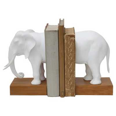 """Resin Elephant Bookends Set of 2 - White (13-1/4""""L) - Target"""