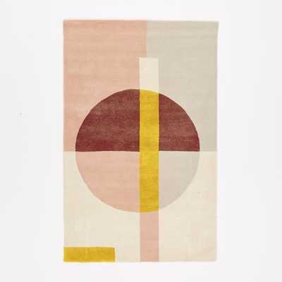 Roar + Rabbit Wabi Sabi Circle Wool Rug, 5'x8', Blush - West Elm