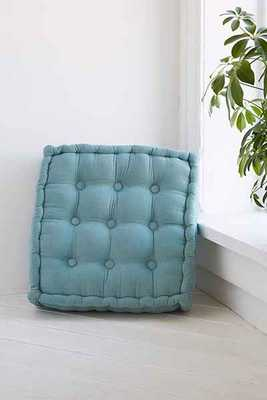 Tufted Corduroy Floor Pillow - Dark Grey / mint set of two - Urban Outfitters