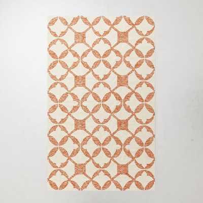 Tile Wool Kilim Rug - Mandarin - West Elm
