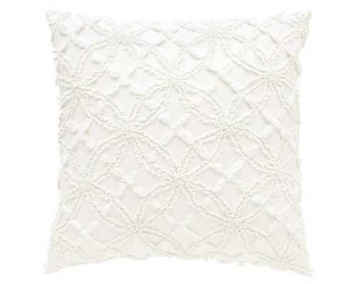 "Candlewick Dive White Pillow / 18"" x 18""/ Feather down insert - Dash and Albert"