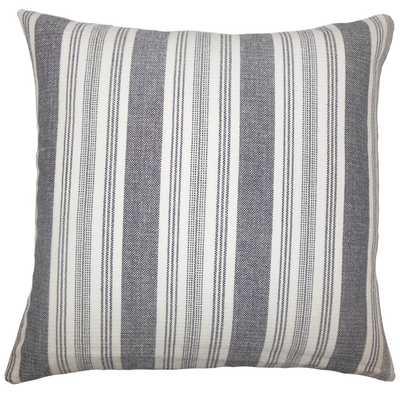 """Reiki Striped Pillow Black White - 18"""" x 18"""", down insert - Linen & Seam"""