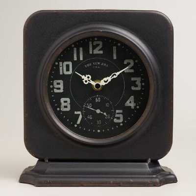 Square Black Metal Filmore Clock - World Market/Cost Plus