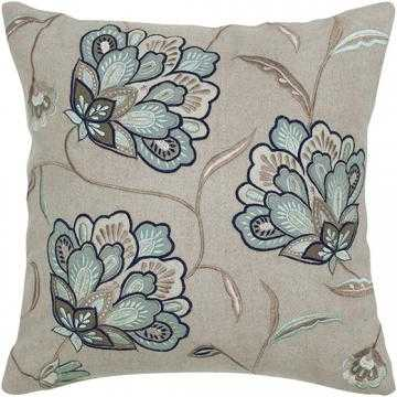 """Fleur Embroidered Pillow-18"""" squ.-Beige/Aqua- - Home Decorators"""