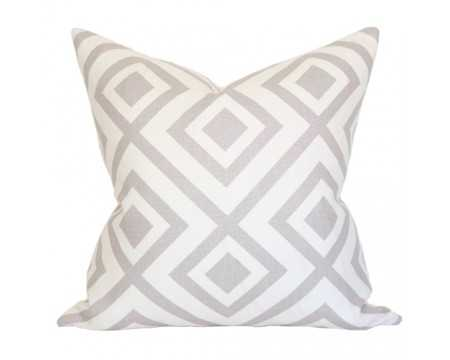 "Pillow cover in David Hicks La Fiorentina - 18"" x 18"" - Grey - Ivory - Pattern only front side - Arianna Belle"