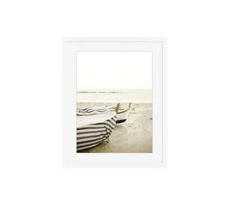 "BOAT COVER FRAMED PRINT - 16"" x 20""-White wood frame-with mat - Pottery Barn"