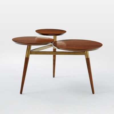 Clover Coffee Table - Walnut/Antique Brass - West Elm