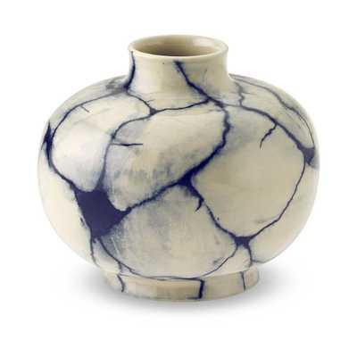 Marbleized Ceramic Vessel, Small, Navy - Williams Sonoma
