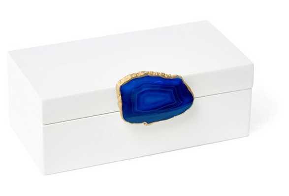 Medium White Box w/ Blue Agate Knob - One Kings Lane