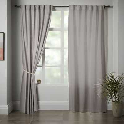 """Linen Cotton Pole Pocket Curtain, Set of 2, Platinum, 48""""x84"""" - Unlined - West Elm"""