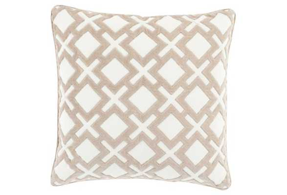 Harmony 18x18 Pillow - Ivory - Down Insert - One Kings Lane