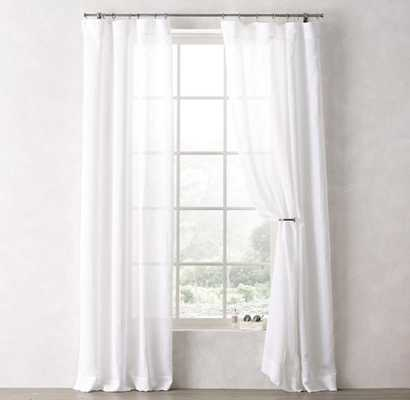 "Sheer Linen-Cotton Drapery Panel  - White -  96""L - RH Teen"