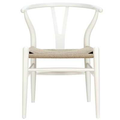 Amish Wood Armchair in White - Domino