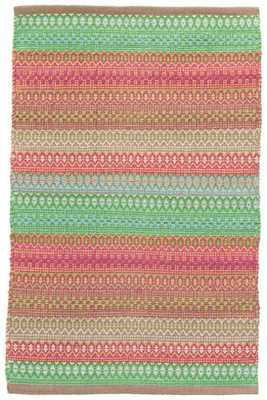 GYPSY STRIPE PINK/GREEN WOVEN COTTON RUG - 9' x 12' - Dash and Albert