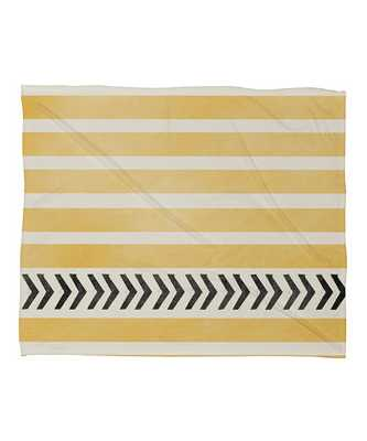 YELLOW STRIPES AND ARROWS Fleece Throw Blanket - Wander Print Co.