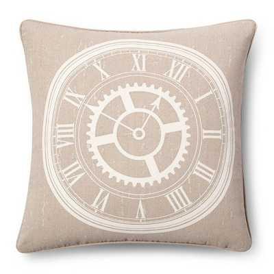 Clock Throw Pillow - Linen (18x18) - Feather Fill - Target